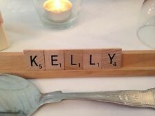 Wooden Guest Place Setting Name Tiles with Rack Scrabble Holder Wedding Gift