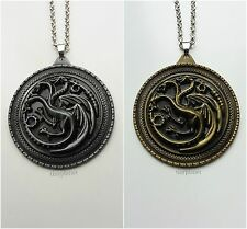 Game Of Thrones Targaryen Necklace Pendant Dragon Fire and Blood UK Stock