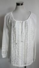 NC Nice Connection Bluse Tunika weiß Gr. 38 40 Spitze Langarm Sommer Top I105