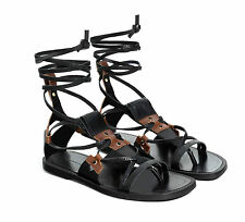 ZARA BLACK GENUINE LEATHER GLADIATOR ROMAN SANDALS FLAT TIE UP ANKLE BOOTS NEW