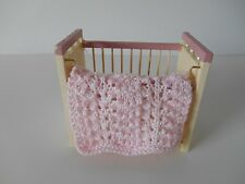 HAND KNIT MINIATURE DOLLHOUSE DOLL BABY BLANKET LIGHT PINK