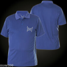 Mens MEDIUM TAPOUT POLO Button neck T shirt New M UFC MMA BLUE Tee