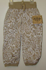 Route 66 Khaki & Beige Floral Elastic Waist & Leg Bottom Girls Pants - Size 6
