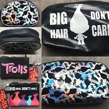 Trolls Girls Holographic Black Zip Up Make-Up Wash Toiletry Bag Coin Purse Hair