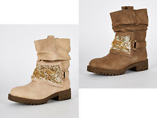 s22- Mujer / mujer beis Motero BOTAS ANCHAS CON ORO DETALLE UK 4