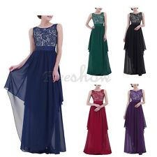 Women Formal Lace Long Dress Wedding Prom Evening Party Bridesmaid Cocktail