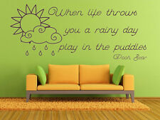 AA Milne, Rainy Day, Puddles Quote, Wall Art Stickers Decal, Winnie the Pooh