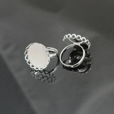 10/50pcs Silver Adjustable Rings Inner Cameo Setting Size 23x13mm