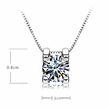 UK SELLER NEW FOR 2016  Silver Woman Zirconia Crystal  Pendant square necklace