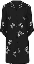 Women Ladies Chiffon Butterfly Print Turn up Sleeve Blouse Top Shirt Size 14-28