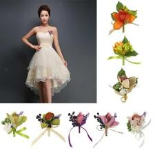 Wedding Bouquet Groom Tuxedo Bride Dress Orchid Brooch Pin Silk Flower Corsage