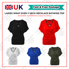 Womens Ladies Wrap Over Crossover V Neck Batwing Top Necklace Loose Tunic Top