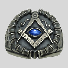 Masonic All Seeing Eye Ring Sterling Silver Sapphire Handmade Freemason UNIQABLE