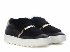 Sneakers Philippe Model donna in pelle nero con pelliccia