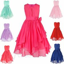 Summer Girls Formal Bridesmaid Dress Princess Wedding Party Flower Bow Dresses