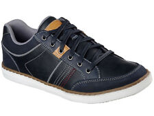 Mens Skechers 64919 Navy Lanson Rometo Leather Lace Up Casual Trainers Pumps