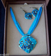 pendant necklace and earring set gift boxed enamel colour choice new
