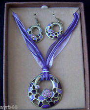 necklace and earring set blue enamel cut out pendant style in box  new