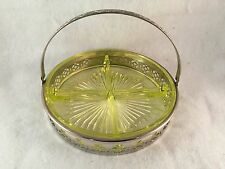 """Yellow Vaseline Glass Relish Serving Tray with Silver Handled Carrier 7-1/2"""" Dia"""