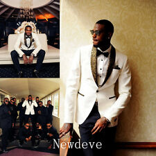 White Black Best Man Groomsman Men's Wedding/Prom 3 Piece Suits Groom Tuxedos