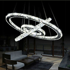 Modern Crystal 3 Rings Circle Ceiling Lamp Chandelier LED Pendant Lighting