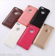 Soft PU Leather Stitching back cover case for iphone 7 Slim Hard PC Phone Shell