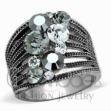 A2478 SIMULATED BLACK DIAMOND 316L STAINLESS STEEL HIGH POLISHED RING