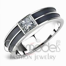 A2529 SIMULATED BLACK DIAMOND 316L STAINLESS STEEL HIGH POLISHED RING