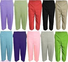 NEW LADIES WOMENS 3/4 THREE Quarter LENGTH CAPRI CROPPED CROP PANTS SIZE COLOUR