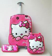 3D Hello Kitty 3pc. Pink Trolley PVC Suitcase Luggage Travel Sets