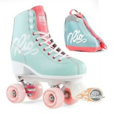 Rio Roller Script Quad Roller Skates Teal/Coral - Optional Skate Bag