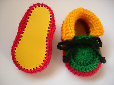 Rasta baby booties. Hand crocheted by myself. Yellow leather soles. 4 sizes. New