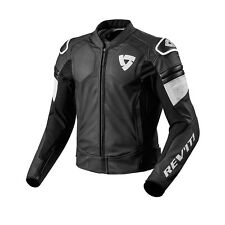 REV'IT! Akira PELLE MOTO MOTOCICLETTA Giacca BIANCO E NERO REV IT REVIT