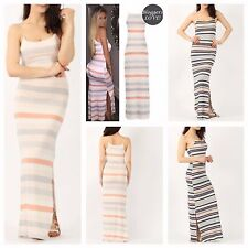 WOMENS LADIES SLEEVELESS DOUBLE SPLIT SIDE STRIPED PRINT LONG CAMI MAXI DRESS