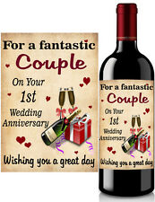 Wine Bottle Label 1st Wedding Anniversary Gift Sticky Label 2nd 10th 25th 50th