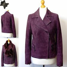 TWIGGY for M&S Real SUEDE LEATHER Snake Print BIKER JACKET ~ Asst Sizes ~ WINE