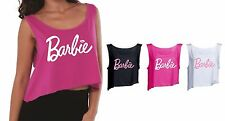 Womens ladies girls Barbie t shirt tank top Vest crop top 3/4  Pink White Black