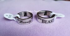Anello La Bella e la Bestia his Beauty her Beast acciaio fedine love Disney amor