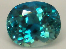 Natural Blue Zircon 3.77 ct. Oval-Cushion Top Color