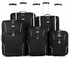 New Eagle Lightweight Luggage Wheeled Trolley Suitcase Case Travel Bag black