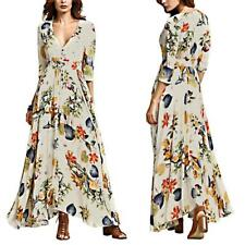 Boho Women Split Floral Beach Party Maxi Long Dress Evening Party Beach Sundress