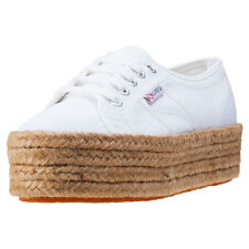 Superga 2790 Flatform Rope Womens White Canvas Casual Trainers Lace-up