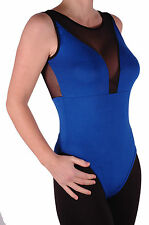 Womens Sleeveless Scoop Neck Mesh Plain Casual Leotard Blouse Stretch Fit Tops