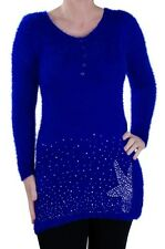 Womens Studded Casual Scoop Neck Long Sleeve Hip Length Jumper Sweater Pullover