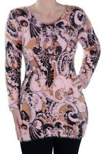 Womens Paisley Scoop Neck Long Sleeve Hip Length Jumper Sweater Pullover