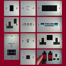 Volex Flat Polished Steel Light Switches and Electrical Sockets Black Insert