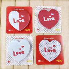 Red Love Heart Shaped Sticky Notes Cube Notes Sticker Marker Memo Pad