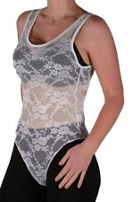 Womens Sleeveless Scoop Neck Floral Lace Mesh Stretch Casual Leotard Bodysuit