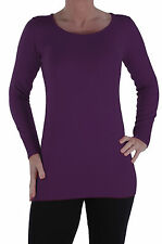 Womens Stretch Scoop Neck Casual Pullover Jumper Sweater Blouse Tops Sweatshirt