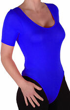Womens Short Sleeve Scoop Neck Body Plain Leotard Blouse Stretch Fit Casual Tops